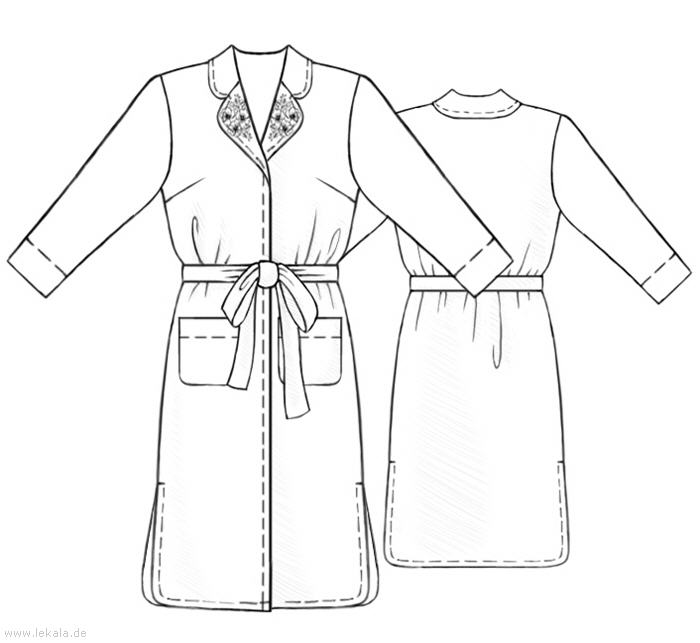 Халат шёлковый - Выкройка #5260 Made-to-measure sewing pattern from Lekala with free online