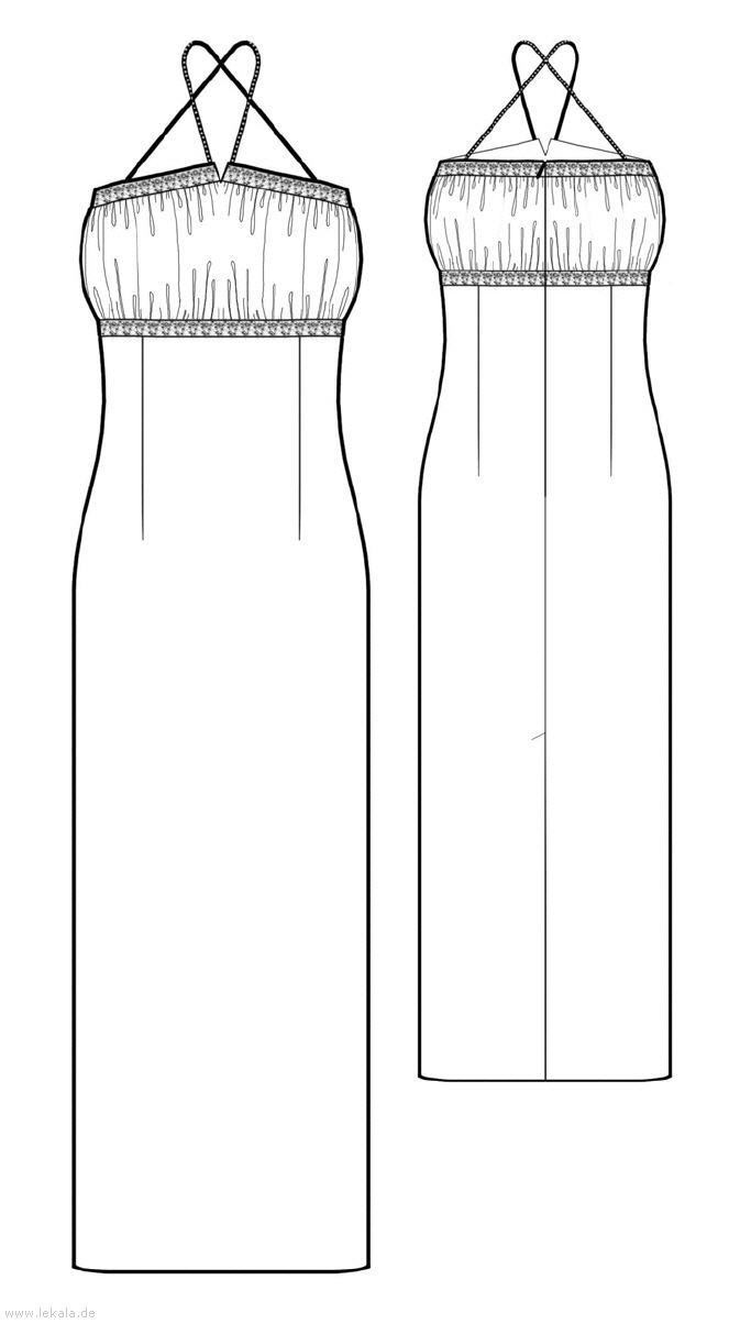Выкройка длинного платья с отрезным лифом. Особенности: длина в пол, отрезной лиф, приталенный фасон